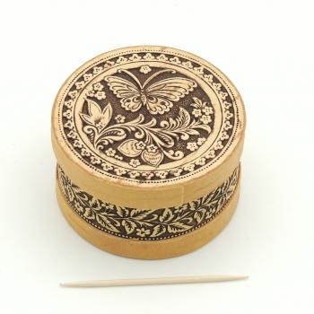Шкатулка круглая Бабочка клубничка