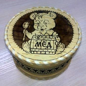Шкатулка круглая Мишка с медом